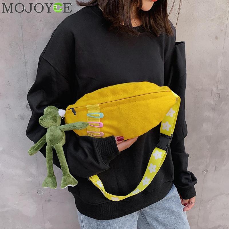 Women Canvas Fanny Chest Pack Cute Plush Doll Zipper Waist Belt Pouch Casual Messenger Shoulder Bag