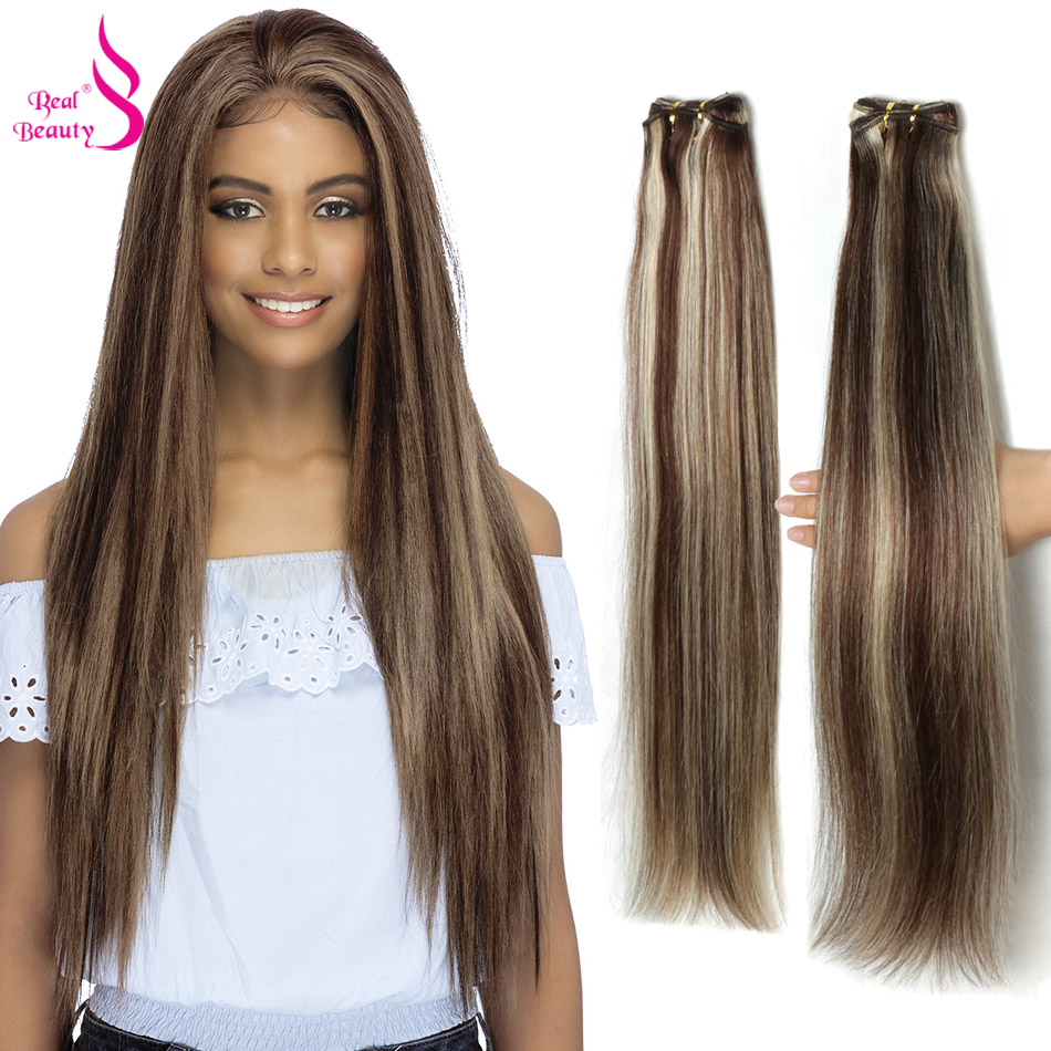 Real Beauty Brazilian Straight Hair 613 Bundles 100% Human Hair Weaving Platinum Blonde Color Bundles Remy Ombre Hair Extensions