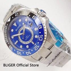 BLIGER funkcja GMT 43mm automatyczny zegarek męski Auto data szafirowe szkło Blau czarny obrotowy Bezel