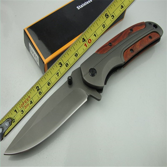 DA43 quick opening folding knife (gray titanium)  440C all steel + acid wood handle Military Survival hunt and camp Knife Pocket 2