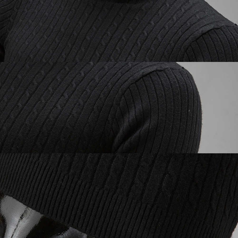 Moda kış şık erkekler düz renk balıkçı yaka uzun kollu örme kazak dip üst akrilik kazak standart yün M-3XL