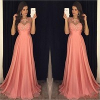New A Line Coral Prom Dresses 2020 Jewel Neck Sleeveless Lace Appliques Beaded Chiffon Evening Dress Pageant Wear