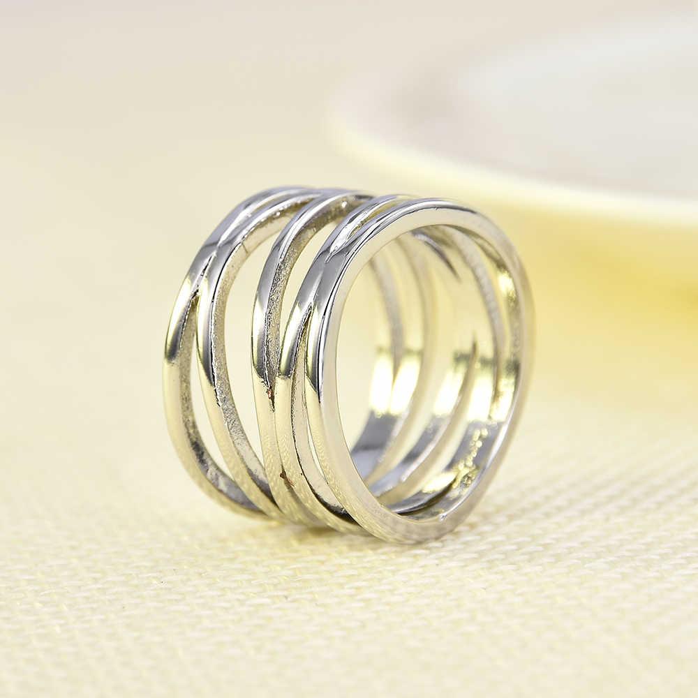 PUNK กว้างห้าวง COIL Wrap ทองแดงชุบเงินแหวนงานแต่งงานแหวนหมั้นเครื่องประดับของขวัญสุภาพสตรีแฟชั่น Street แหวน