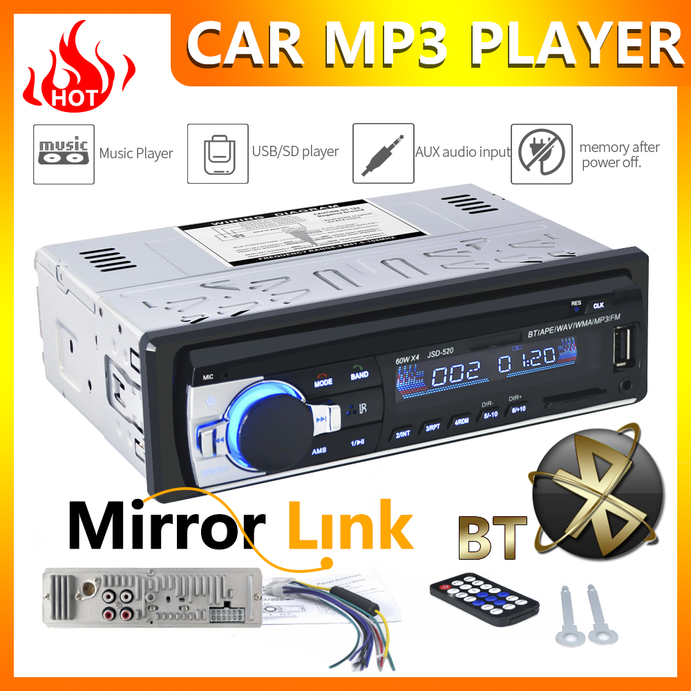 <font><b>1</b></font> <font><b>din</b></font> <font><b>Bluetooth</b></font> <font><b>Autoradio</b></font> 12V <font><b>car</b></font> stereo <font><b>radio</b></font> FM auxiliary input receiver <font><b>SD</b></font> USB <font><b>car</b></font> <font><b>MP3</b></font> multimedia <font><b>player</b></font> image