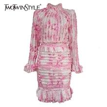 TWOTWINSTYLE женское платье в стиле пэчворк с рюшами, стоячий воротник, пышные рукава, высокая талия, мини платье карандаш, осенняя мода, новинка