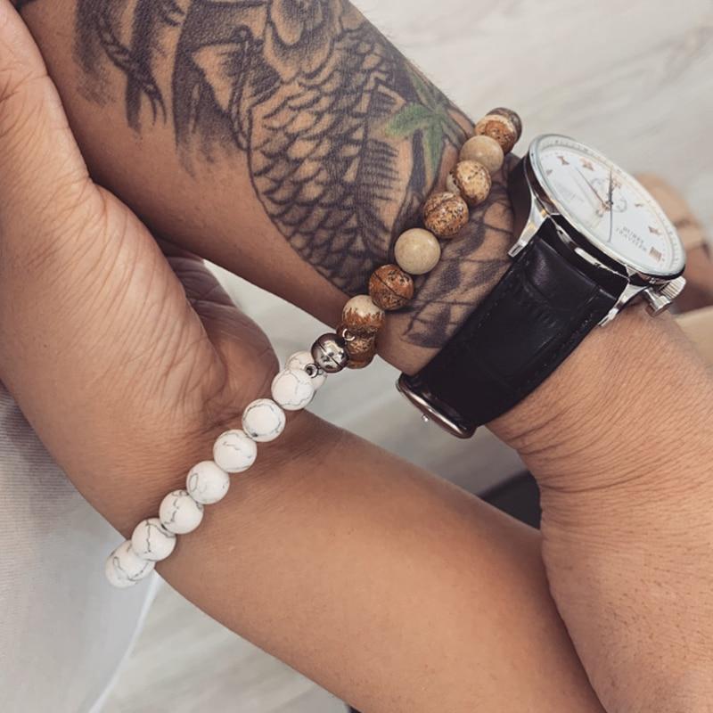 Мужской браслет с натуральными вулканическими камнями, очаровательный браслет для влюбленных пар|Плетеные браслеты|   | АлиЭкспресс - Топ украшений с Алиэкспресс