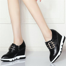 Low Top Fashion Sneakers Women Genuine Leather Wedges High Heel Ankle Boots Female Pointed Toe Platform Pumps Shoes Casual Shoes msstor buckle off white woman shoes 2018 spring strange style pointed toe women pumps genuine leather ankle boots for women 4cm