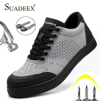 SUADEEX Work Safety Shoes Breathable Lining Anti-smashing Steel Toe Cap Work Shoes Outdoor Sneakers Puncture Proof Boots For Men sitaile breathable mesh steel toe safety shoes men s outdoor anti smashing men light puncture proof comfortable work shoes boot