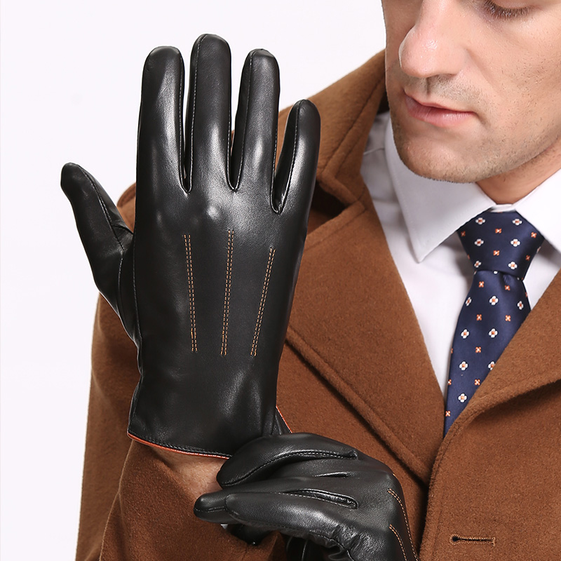 Winter Men's Genuine Leather Gloves 2019 New Brand Touch Screen Gloves Fashion Warm Black Gloves Goatskin Mittens Free Shipping