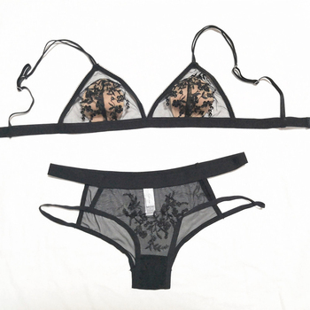 Sexy Underwear Set Ultra Thin Mesh Transparent Embroidery Bra and Panty Set French Lace Triangle Bra Thin Lined Women Lingerie