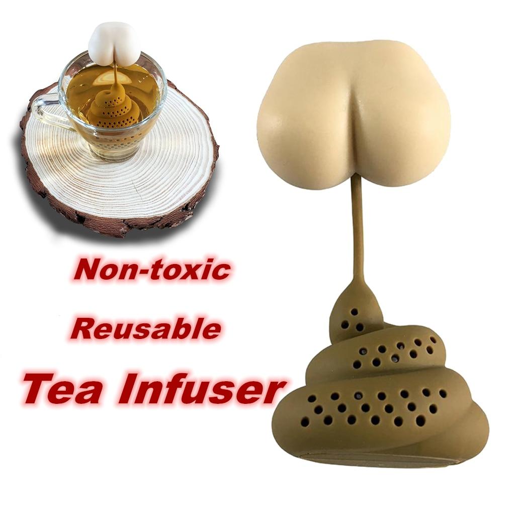 مضحك مصفاة شاي غير سامة مبتكرة شكل سيليكون Infuser حقيبة وعاء قابلة لإعادة الاستخدام المنزل لوازم المطبخ أدوات نسائية