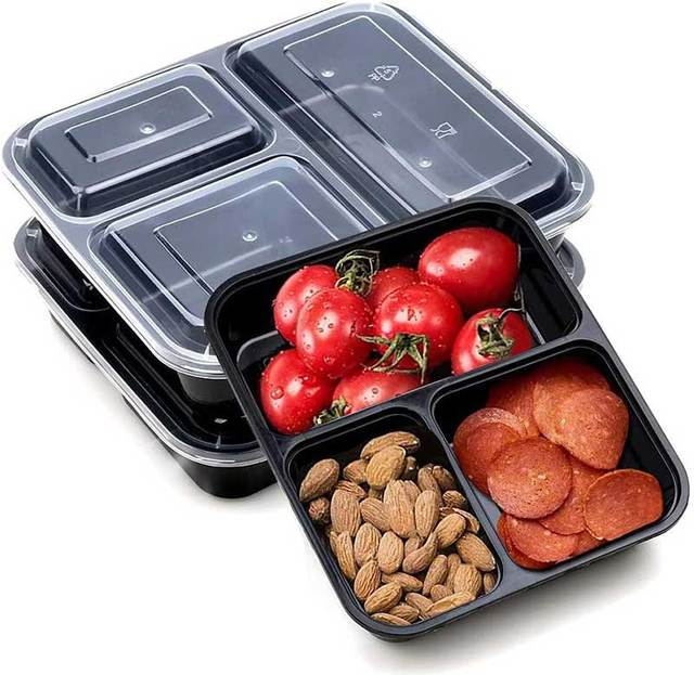 36OZ Meal Prep Containers with Lids 15 Pack, Reusable Lunch Boxes, 3 Compartment Food Storage, Microwave/Dishwasher/Freezer Safe