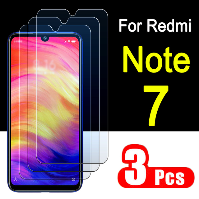 Vetro di protezione redmi note 7 protezione dello schermo in vetro temperato per xiaomi readmi note7 7note non not7 ksiomi xiomi Armored 3 pcs