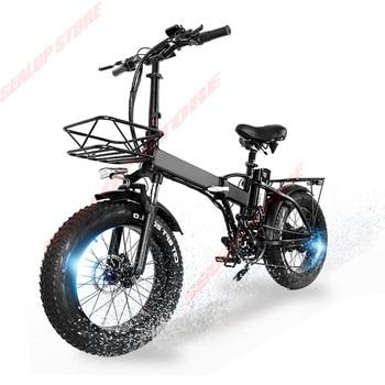 Składany rower elektryczny 750w ebike 20 cali ze wzorem ośnieżonych gór gruby rower electrique 48V 15AH bateria litowa high speed potężny rower