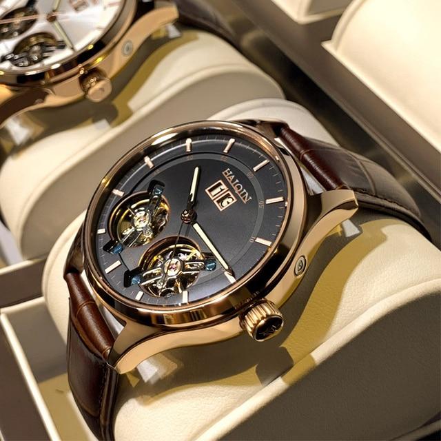 HAIQIN męskie zegarki męskie zegarki top marka luksusowy automatyczny mechaniczny zegarek sportowy mężczyźni wirstwatch Tourbillon Reloj hombres 2020