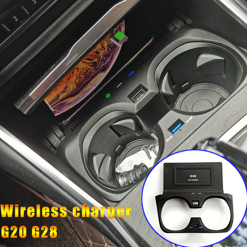 10W car QI wireless charger for BMW 3 Series G20 G28 325I 330I 2019 2020 phone fast charging plate accessories for iPhone 8
