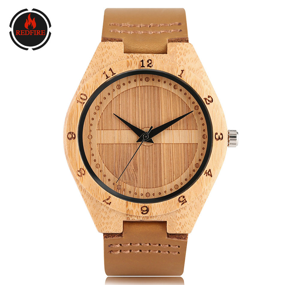 REDFIRE Classic Prohibited Logo Design Wood Watches Men's Genuine Leather Watchband Quartz Timepiece Wooden Watch Gifts reloj