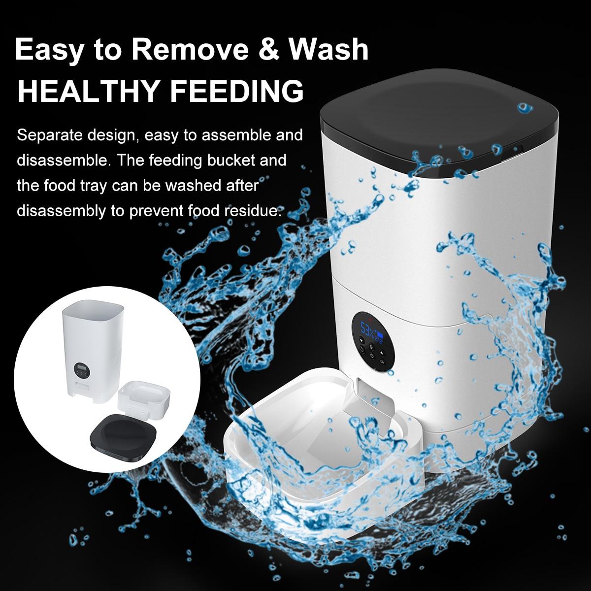 6L alimentatore automatico per animali domestici telecomando intelligente 5s registrazione vocale distributore di cibo per cani gatto [versione WiFi/pulsante] 2