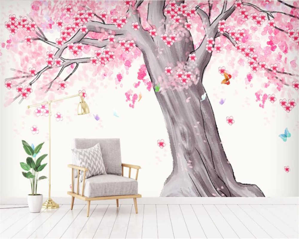 Beibehang 3d Wallpaper Modern Hand Painted Watercolor Cherry Tree Butterfly Landscape Background Wall Decoration 3d Wallpaper 3d Wallpaper Photo Wallpapercustom 3d Wallpaper Aliexpress