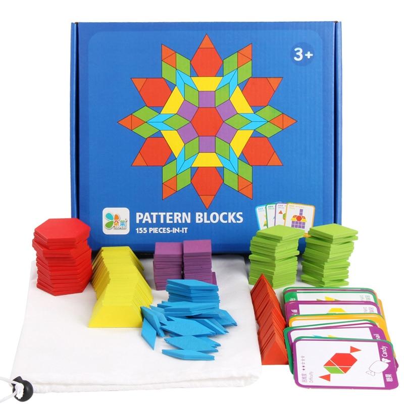 155 sztuk/zestaw kolorowe drewniane Puzzle Jigsaw dla dzieci zabawki edukacyjne Montessori łamigłówka dzieci nauka rozwijająca się zabawka