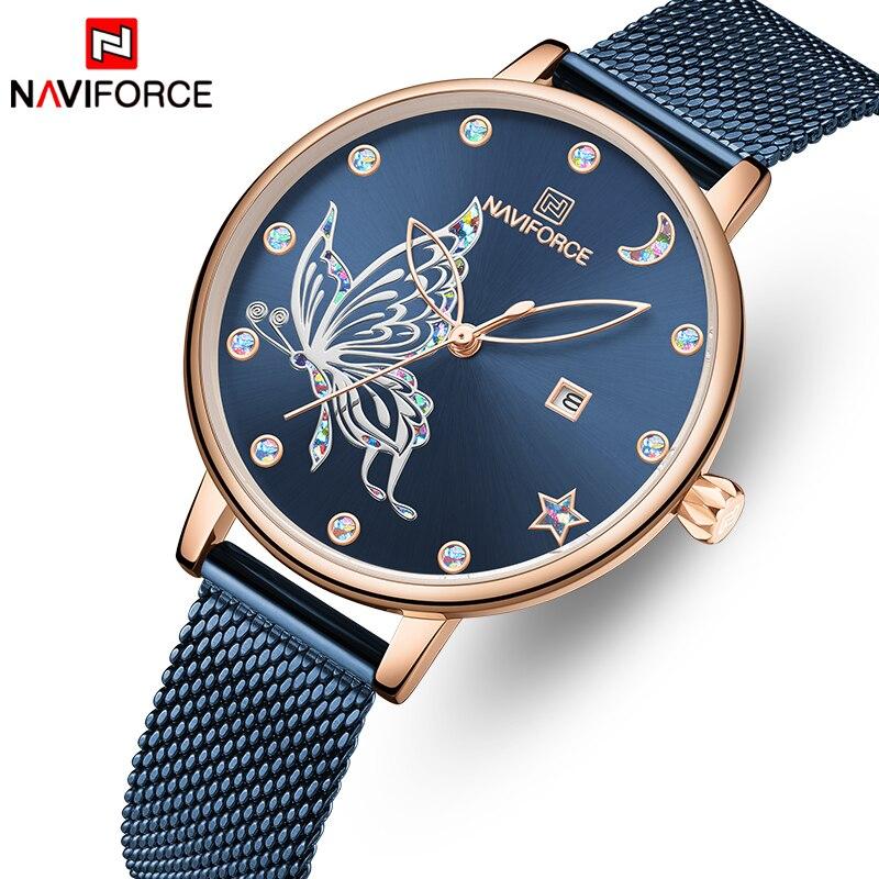 New Women Watch Top Luxury Brand NAVIFORCE Fashion Quartz Ladies Watches Gold Blue Steel Mesh Wristwatch Female Dress Girl Clock