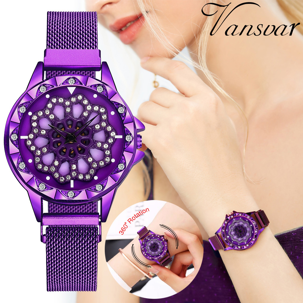 Luxury Women Watches Rhinestone Rotate Dial Ladies Fashion Quartz Wristwatch Magnetic Buckle Strap Clock Casual Reloj Mujer @50