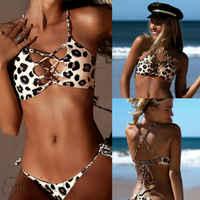 Hot Leopard Printed Bikinis Set Women Swimwear Push Up Paded Bra Women Swimsuits Bandage Bikinis Bathing Suits First Grade