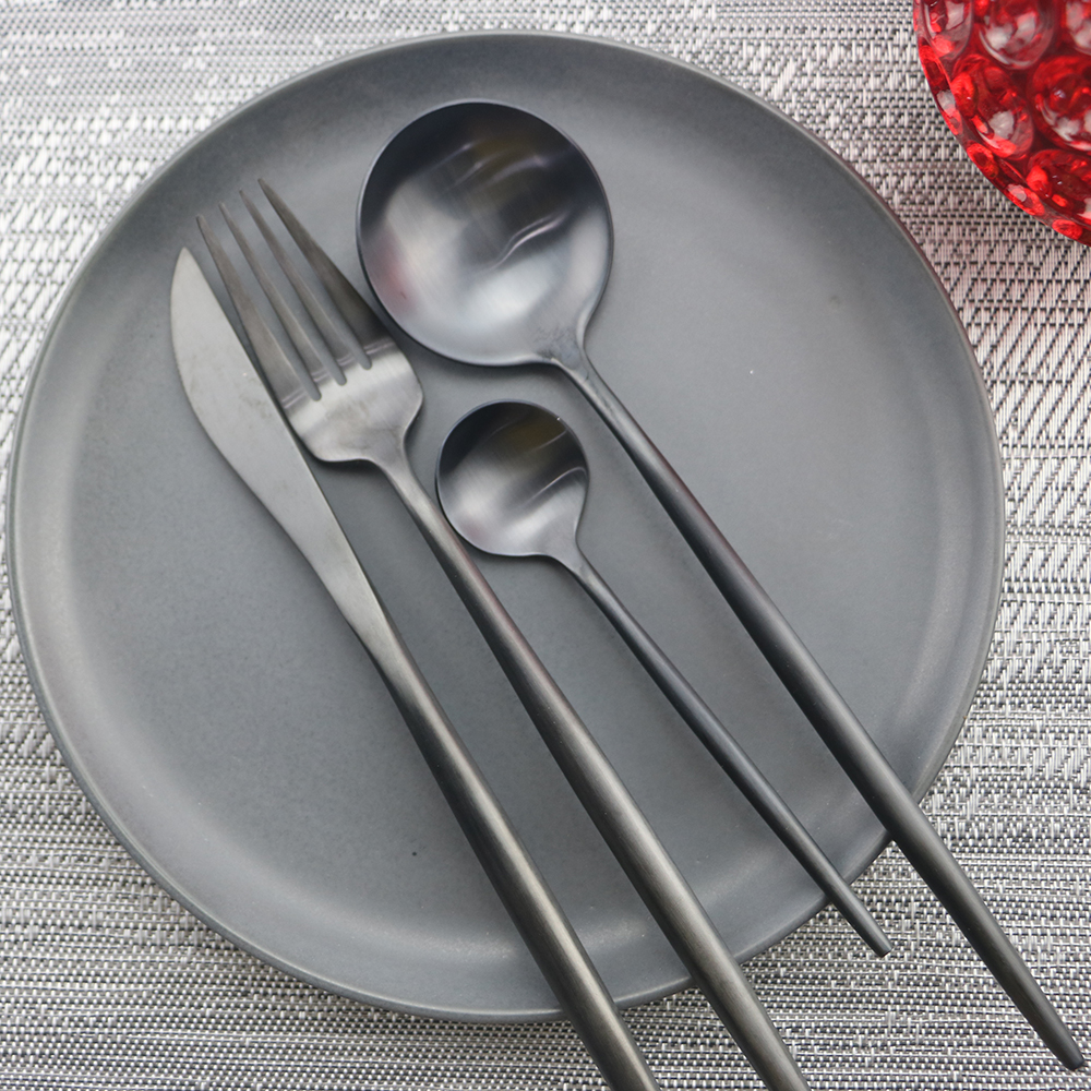 24 Pcs/lot ensemble de vaisselle en métal couteau fourchette cuillère ensemble de vaisselle en acier inoxydable noir argent arc-en-ciel couverts ensemble lave-vaisselle