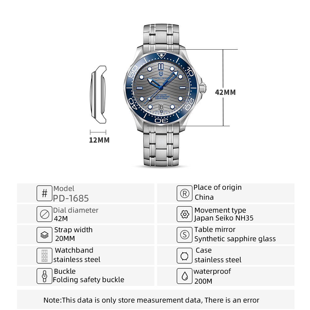 2021 New PAGANI DESIGN Wave Men Mechanical watch Luxury Automatic Watch for men NH35 Sapphire crystal Dive wristwatch clock man 4