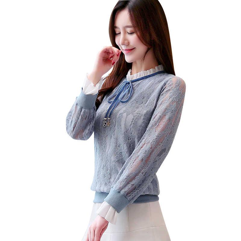 النساء البلوزات الكورية أزياء الشيفون قميص زائد حجم أنيقة النساء النساء قمصان Blusas موهير دي مودا 2019 امرأة الدانتيل طباعة قميص