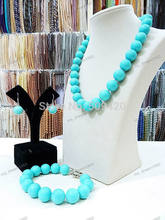 Groothandel>> Nieuwe Lady's Sieraden 14mm Turquoise Shell Parel Ketting Earring Armband Sets(China)