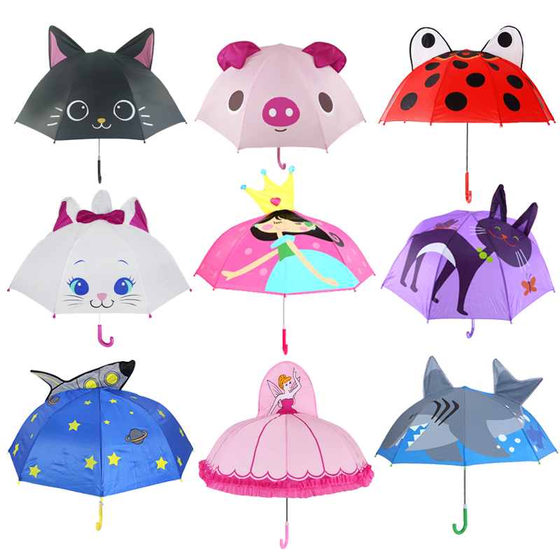 Paradise Cute Cartoon Children Umbrella animation creative long-handled 3D ear modeling kids umbrella For boys girls