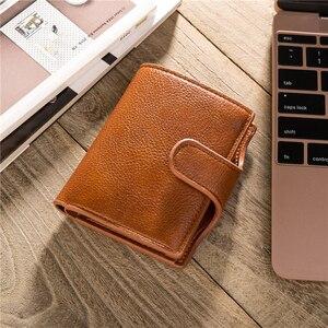 Image 5 - BISI GORO Mini portefeuille Anti vol, porte cartes intelligent RFID, étui à cartes unisexe Vintage, sac dargent solide, Dropshipping 2020