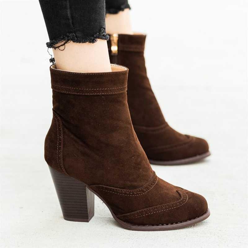 รองเท้าผู้หญิงใหม่รองเท้าส้นสูง Slip ฤดูหนาวถุงเท้ายืดรองเท้า elegant Square รองเท้าส้นสูงรองเท้าผู้หญิง Plus ขนาด 35-43