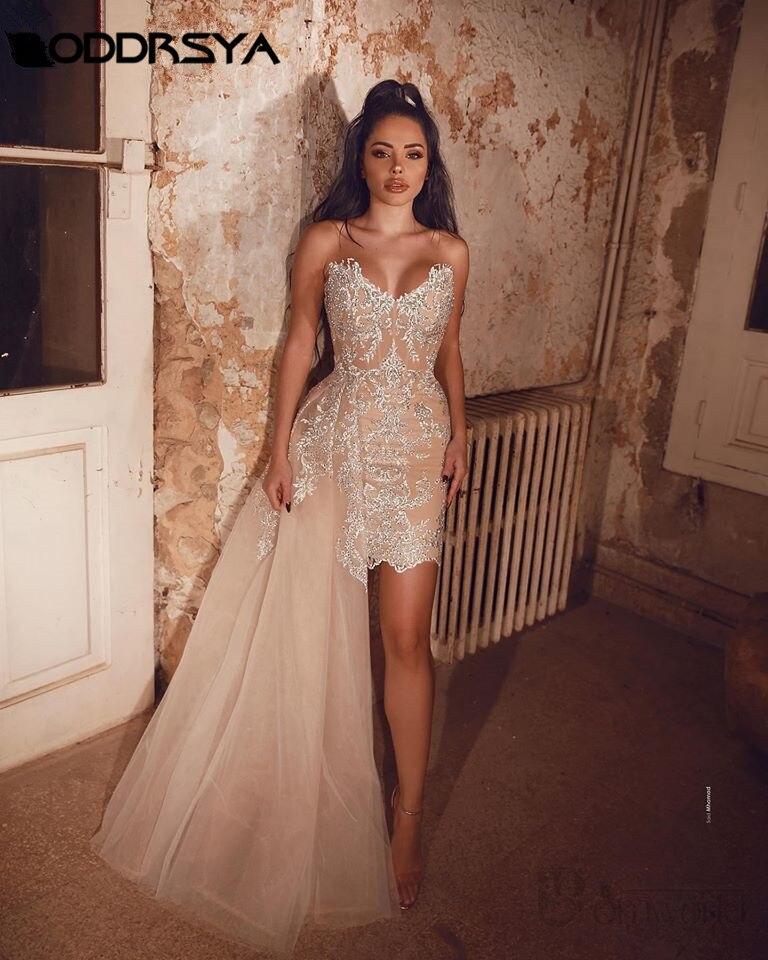 Sexy Champagne Prom Dresses 2020 V-neck Sleeveless Tulle Appliques Detachable Train Mini Straight robe de soiree Prom Gown