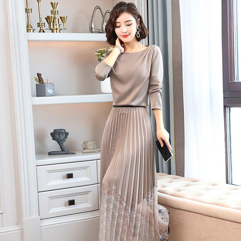 Elegant Versatile Elegant Gauze Joint Trend Korean-style 2019 Autumn Two-Piece Set