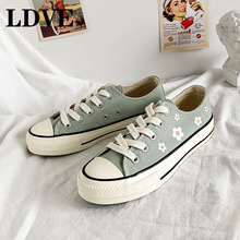 2019 Autumn New Print Sneakers Women Canvas Shoes Women Fashion Vulcanize Shoes Casual Flower Zapatillas Mujer недорого
