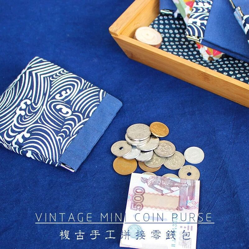Japanese-style Floral Purse Women's Canvas And Wind Wallet Mouth Gold Package Japanese Style Small Coin Bag Handmade Cloth Bag W