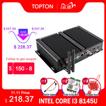 Topton endüstriyel fansız PC Intel i7 10510U i5 8265U 2 * DDR4 M.2 NVME + MSATA + 2.5 '''SATA 2 * COM HDMI VGA WiFi sağlam Mini bilgisayar