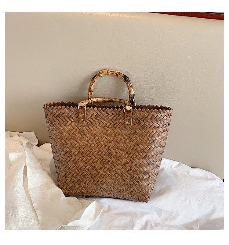 Woven Straw Tote Bag, Fashion Straw Travel Bag for Women 2021