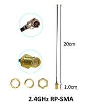 אנטנה 5dbi rp sma 2.4GHz WiFi אנטנה 5dBi אוויר RP-SMA זכר מחבר 2.4 GHz Antena Wi-Fi נתב + 21cm PCI U.FL IPX ל- SMA זכר צמה בכבלים (3)