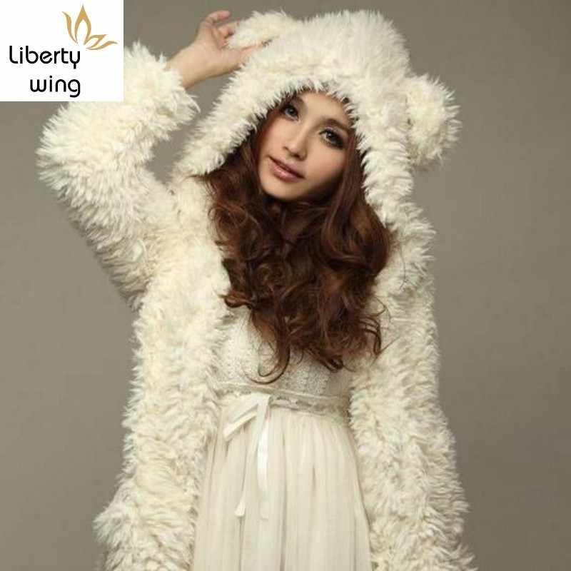 겨울 새로운 도착 패션 세련 된 여자 대학 귀여운 곰 귀 두꺼운 모피 Outwears 여자 스웨터 여자 화이트 크기 XL