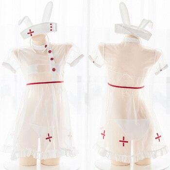 Traje uniforme para Cosplay bordado con Cruz de enfermera blanca, conjunto de ropa interior 4 Uds