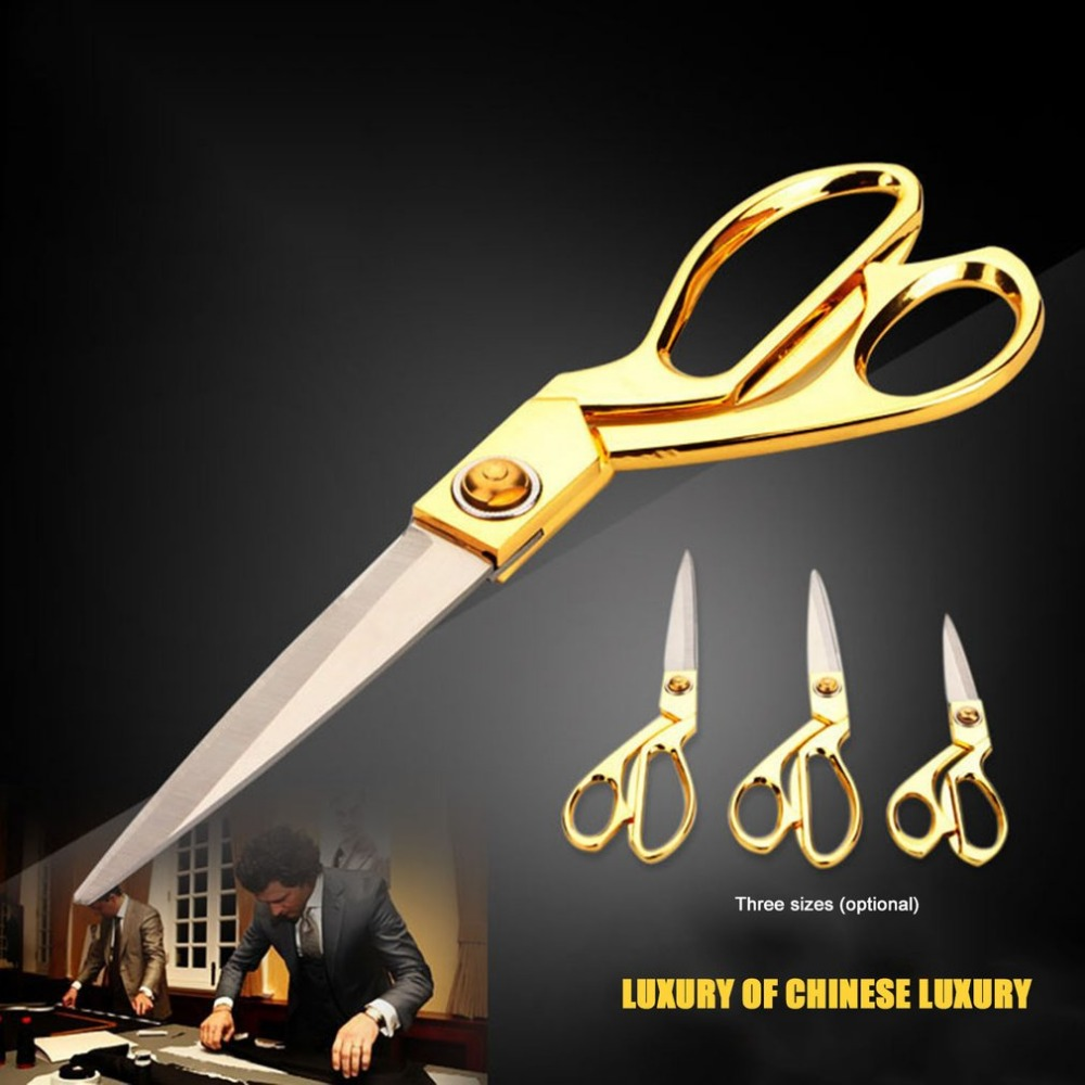 8/9.5/10.5 Inch Scissor Gold Handle Stainless Steel Tailor Sewing Scissors Blade Dressmaking Shears Fabric Craft Cutting Textile