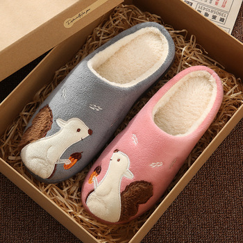Cute Squirrel Women Winter Home Slippers Cartoon Animal Soft Winter Warm House Shoes Men Women Girl Boys Indoor Bedroom Slippers