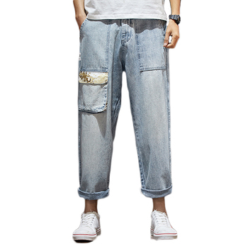 Men Loose Tide Pocket Jeans Straight Pants Tide 9 Points Pants Fat Large Size New Cropped Jeans Vintage Style Teenager Jeans фото