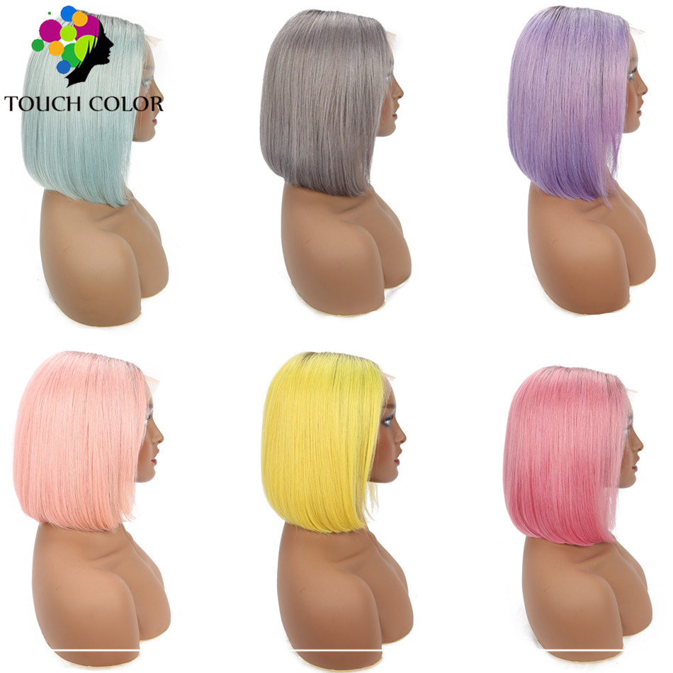 Ombre Straight Short Bob Wig Brazilian Human Hair Lace Front Remy Colored 13x4 Pixie Blunt Cut For Women