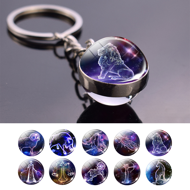 Leo Libra Scorpio 12 Constellation Keychain Glass Ball Pendant Zodiac Sign Keychain Car Key Rings Men Women Birthday Gifts