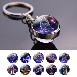 Leo Libra Scorpio 12 Constellation Keychain Glass Ball Pendant Zodiac Sign Keychain Car Key Rings Men Women Birthday Gifts(China)