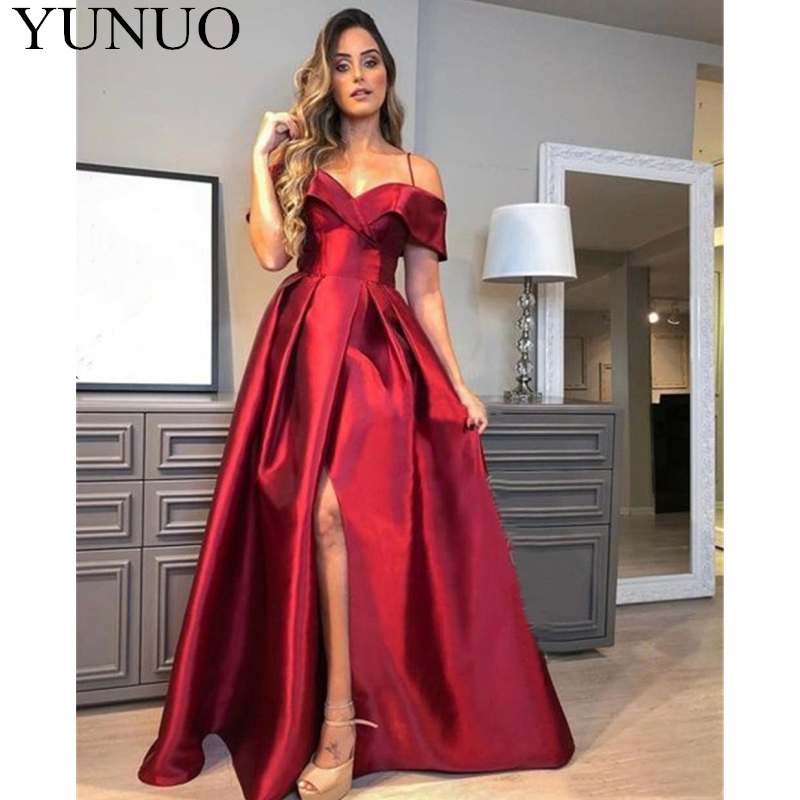 YuNuo Burgundy Long Formal   Dresses   2019 Elegant A Line High Split Satin   Prom     Dress   Party Gowns Pageant Gowns N30